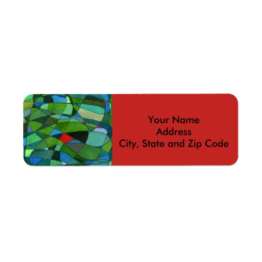 Abstract design return address label, red & greens