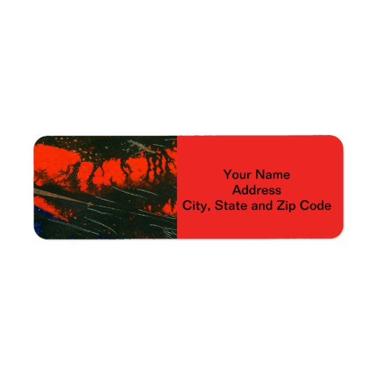 Abstract design return address label, swamp fire.