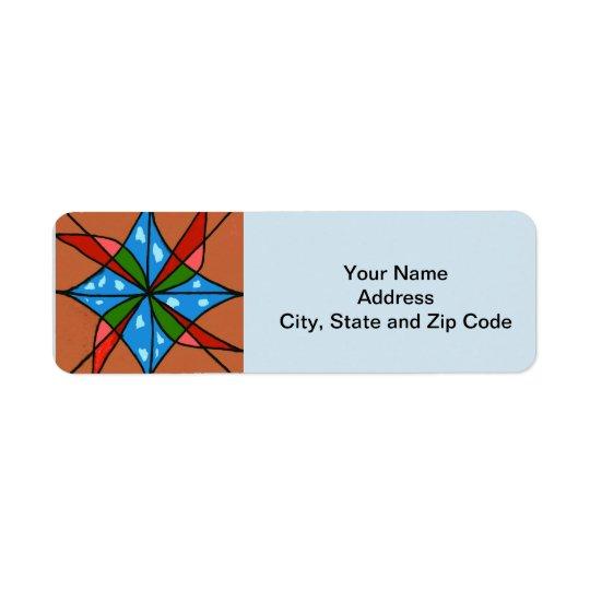 Abstract design return address label, windmills.