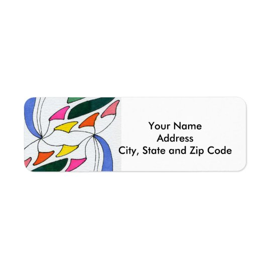 Abstract design return address label with pennant.