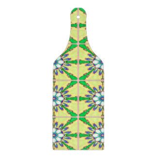 Abstract Design Seamless Green, Yellow And White Cutting Board
