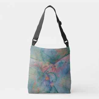 Abstract design with soft colors of peach and blue crossbody bag