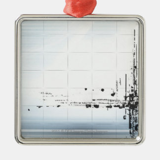 Abstract designs on grid christmas ornament