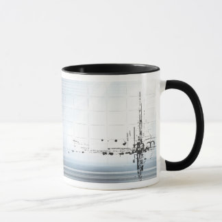Abstract designs on grid mug