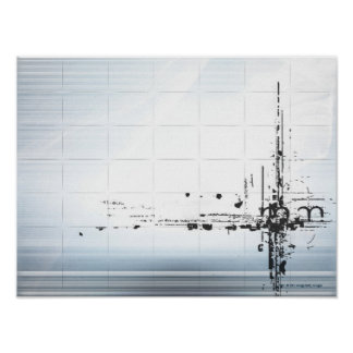 Abstract designs on grid poster