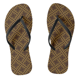 Abstract diamonds on dark gold flip flops