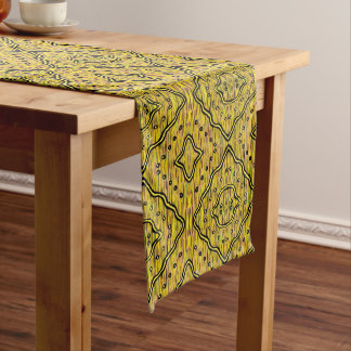 Abstract Diamonds Yellow And Black Pattern Long Table Runner