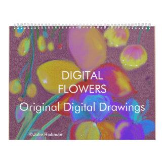 ABSTRACT DIGITAL FLOWERS calendar