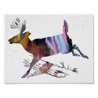 Abstract  doe silhouette poster