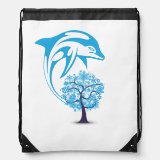 Abstract Dolphin Drawstring Backpack