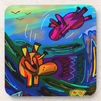 abstract donkeys swimming coaster