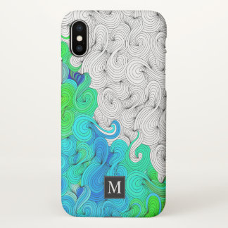 Abstract Doodle Illustration with Monogram iPhone X Case