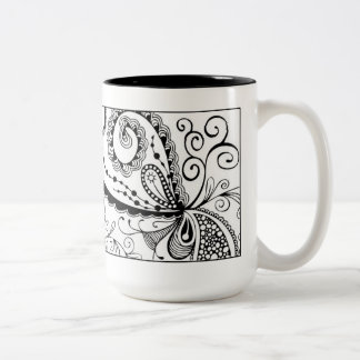 Abstract Doodle Mug in Black and White