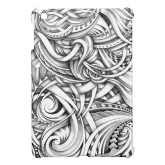 Abstract Doodle Swirly Lines Shaded In Pencil Art iPad Mini Cover
