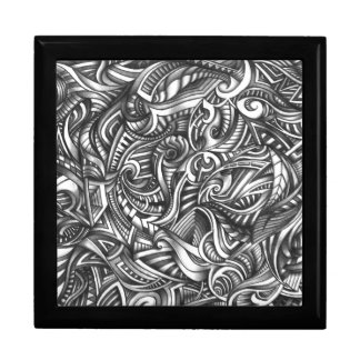 Abstract Doodle Swirly Lines Shaded In Pencil Art Large Square Gift Box
