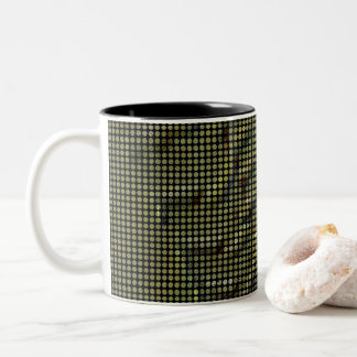 Abstract dot mosaic in copper green Two-Tone coffee mug