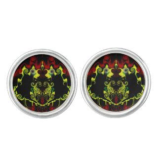 Abstract Dragonfire Round Cufflinks