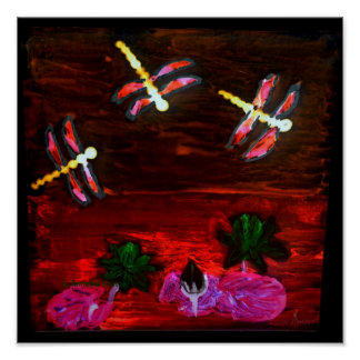 Abstract Dragonfly Lily pond Poster