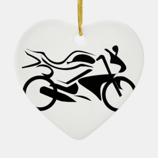 Abstract drawing of a motorbike ceramic heart decoration