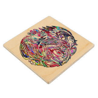 Abstract Eagle Bass and Bear Tribal Art Wood Coaster