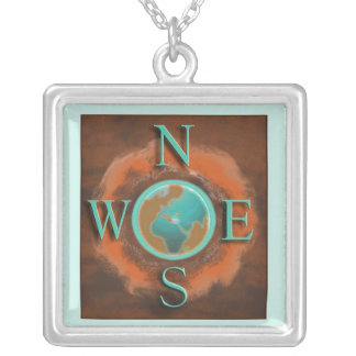 Abstract Earth Compass Pendant Necklace