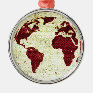 Abstract Earth Silver-Colored Round Decoration