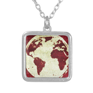 Abstract Earth Silver Plated Necklace