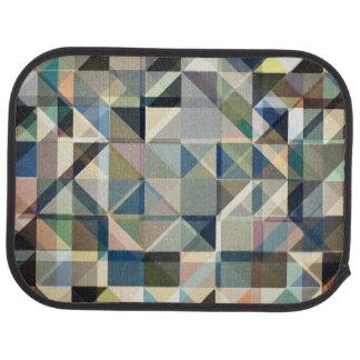 Abstract Earth Tone Grid Floor Mat