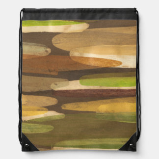 Abstract Earth Tone Landscape Drawstring Bag