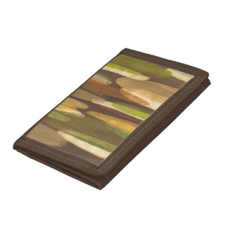 Abstract Earth Tone Landscape Tri-fold Wallets
