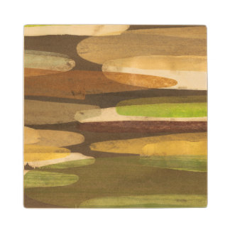 Abstract Earth Tone Landscape Wood Coaster