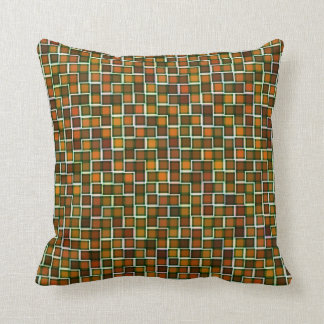 Abstract Earth Tone Squares Pattern Cushion