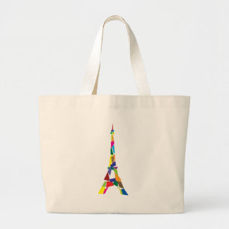 Abstract Eiffel Tower, France, Paris Large Tote Bag