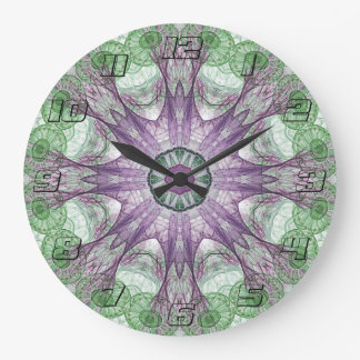 Abstract Electric Jellyfish Cool Fractal green Clock