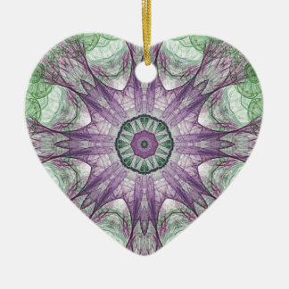 Abstract Electric Jellyfish Cool Fractal green r Ceramic Heart Decoration