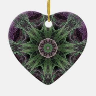 Abstract Electric Jellyfish Cool Fractal pg on b Ceramic Heart Decoration