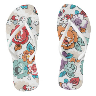 Abstract Elegance floral pattern 5 Flip Flops