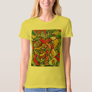 Abstract elephant design organic T shirt