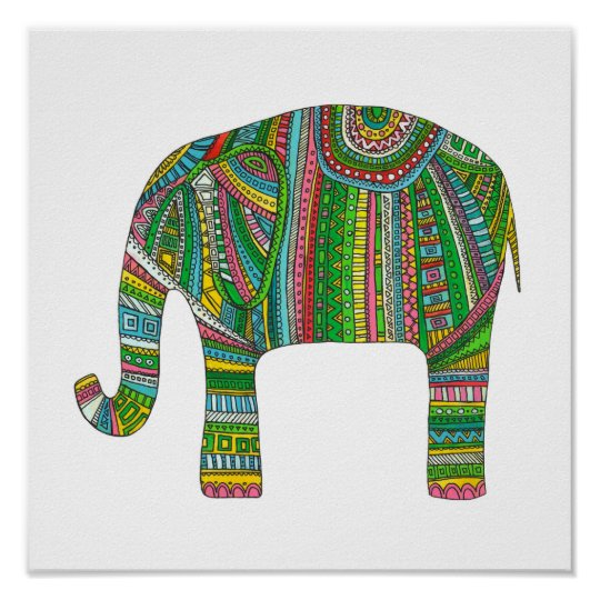 Abstract elephant print. Animal illustration art Poster