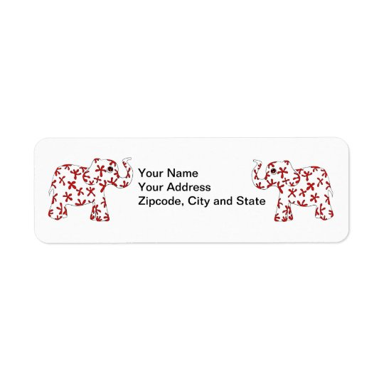 Abstract Elephants Return Address Labels