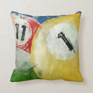 Abstract Eleven and One Ball Billiards Throw Cushion