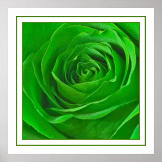 Abstract Emerald Green Rose Center Photograph Poster