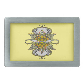 abstract ethnic flower belt buckle