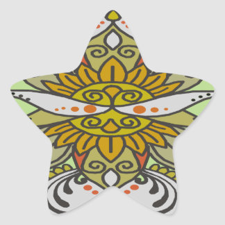 abstract ethnic flower star sticker