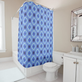 Abstract ethnic geometric blue pattern shower curtain
