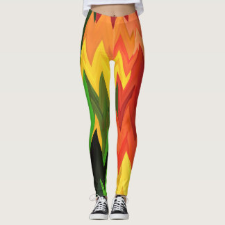 Abstract Ethnic Multicolor Art Vitaleg Leggings