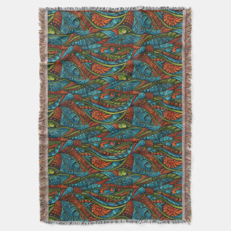 Abstract ethnic wallpaper throw blanket
