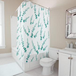Abstract Eucalyptus Leaves Pattern Shower Curtain