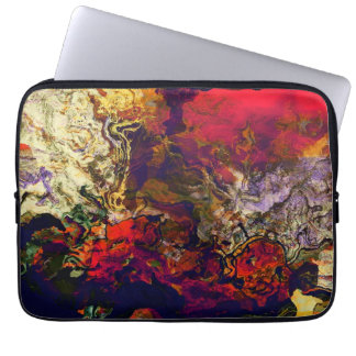 Abstract Evening Red Cream Midnight Swirl Laptop Computer Sleeves