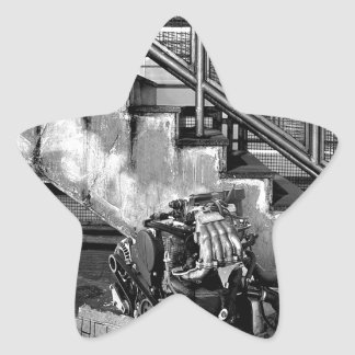 Abstract Everyday Car Engine Star Sticker